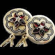 Rose Cut Garnet and Seed Pearl, Black Enamel Floral Drop Upcycled Earrings
