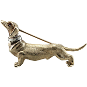 Distinguished Dachshund, Ruby Dachshund Dog Brooch