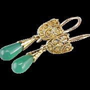 Ornate Filigree Green Onyx Drop Earrings