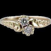 Victorian Toi et Moi, Gorgeous Fine Diamonds, Bypass Diamond, Antique Ring