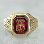 Amazing Engraved Reverse Inlay Masonic Ring with Shriner's Symbol, Synthetic Ruby