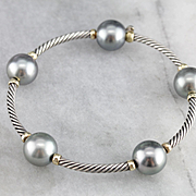 Vintage David Yurman Tahitian Gray Pearl Sterling Silver Cable Mustique Bangle Bracelet