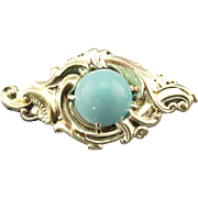 Antique Victorian Persian Turquoise Brooch in Fine 10K Gold