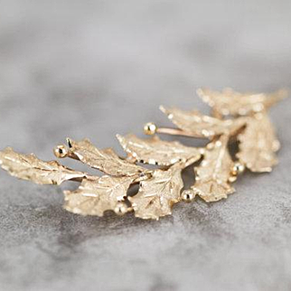 14 Karat Gold Holly Leaf and Berries Pin, Perfect Christmas Gift