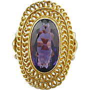 Roman Holiday: Amethyst Cocktail Ring, Circa 1960's