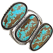 Oversized Hebert George Turquoise and Sterling Silver Native American Cuff Bracelet