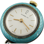 Vintage Gübelin Bright Blue Enamel Ladies Pendant Watch