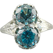 Incredible Double Blue Zircon Cocktail Ring, Intricately Etched Mounting, Statement Ring