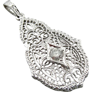 Bridal Art Deco Filigree Diamond Pendant