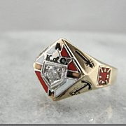 Diamond Enameled Knight of Columbus Men's Ring