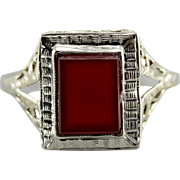 Vintage Carnelian Cocktail Ring, Ladies Ring with Rich Red Color
