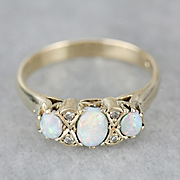 Three Opal and Diamond 14 Karat Gold Band, October Birthstone Ring