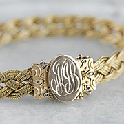 "Victorian Braided 14 Karat Gold Bracelet, Antique Mesh Bracelet, ""NJB"" Monogram Bracelet, Estate Jewelry"