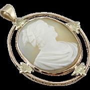 Art Nouveau Era, Antique Oval Cameo Pendant