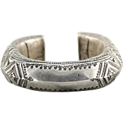 Vintage Bedouin, Tuareg or North African, Saharan 800 Silver Cuff Bracelet