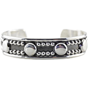 Tribal Design Mexican Sterling Silver Cuff Bracelet, Lovely and Easy to Wear Geometric Design