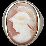 Goddess Athena Cameo Men's Large 14 Karat Gold Statement Ring