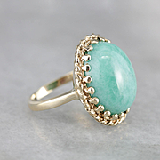 Vintage Amazonite Cocktail Ring, Cabochon Statement Ring