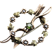 Art Nouveau Lover's Wreath, Bow and Arrow Wreath Brooch, Amazing Antique