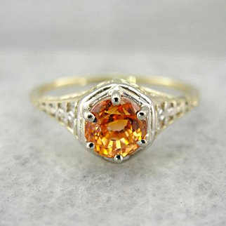 Flashing Orange Sapphire Solitaire in Antique Filigree Setting