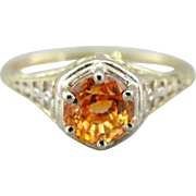 Flashing Orange Sapphire Solitaire in Filigree Setting