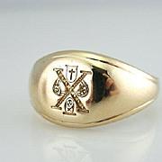 Unique 14K Gold Signet Ring, Cross and Grave Design