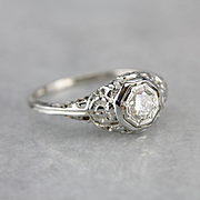 Upcycled Diamond Filigree Engagement Ring