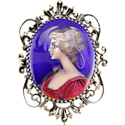 Exquisite French Enamel Miniature Painting Cameo or Pendant