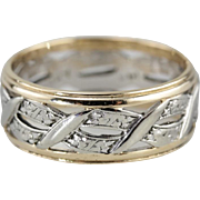 Wide Vintage Wedding Band with Braided Motif in Pretty 14K Yellow Gold, Mid Century Ladies Bridal Jewelry