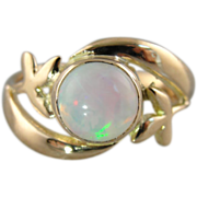Rose Gold Victorian Ladies Ring with Fine Ethiopian Opal Center