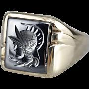 Men's Vintage Hematite Intaglio Statement Ring