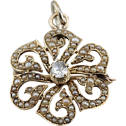 Victorian Diamond Pendant, Cultured Seed Pearl Brooch or Pendant, Beautiful Antique Wedding Pendant