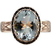 Upcycled Victorian Aquamarine Ring in 10K Antique Rose Gold