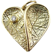 Vintage Textured Heart Pendant in 14K Yellow Gold