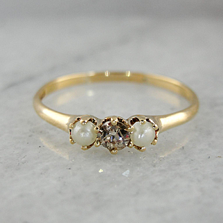 Victorian Old Mine Cut Diamond and Seed Pearl Ring, Antique Diamond Stacking Band