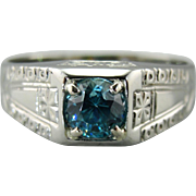 Men's Blue Zircon or Right Hand Ring, Blue Zircon Statement Ring with Etching in 18K White Gold