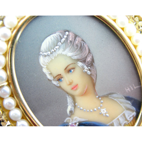 Exquisite miniature hand painted portrait cameo with fine for Alex paint porcelain jewelry