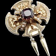 Victorian Era Ornate Garnet Brooch