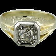 Dapper Art Deco Old Mine Cut Diamond 14K Green Gold Men's Ring