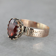 Stunning Upcycled Garnet and Rose Gold Ring, Victorian Era Ring with Cigar Band Style Shank