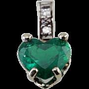 Emerald Love, Gorgeous Heart Cut Emerald and Diamond Pendant