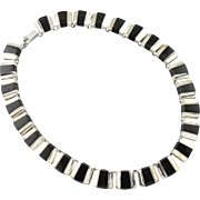 Funky Geometric Black Onyx Choker in Sterling Silver, Vintage Taxco Mexico Necklace