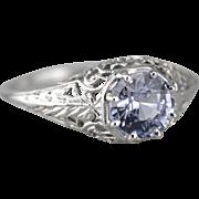 Lavender Sapphire Filigree Engagement Ring