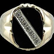 Men's Mid-Century Black Onyx and Diamond Ring