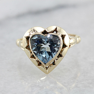 Heart Shaped Blue Topaz Cocktail Ring