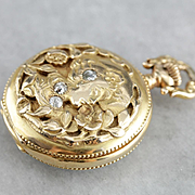 Antique Waltham Pocket Watch, Art Nouveau Diamond and 14 Karat Gold Pocket Watch