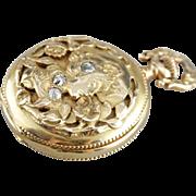 Antique Waltham Pocket Watch, Art Nouveau Diamond and 14 Karat Gold Pocket Watch