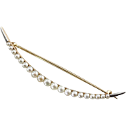 Antique CulturedPearl Crescent Moon Pin, Art Nouveau Era Symbol of the Goddess Diana