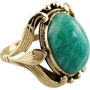 Beautiful Amazonite Ring in Original Antique Art Nouveau Setting