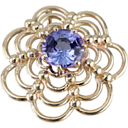 Sapphire and Golden Web: Vintage 14K Gold Pendant with Fine Blue Sapphire from Ceylon